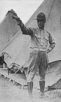 Lieut William Whaling firing position with .45 Colt 1911