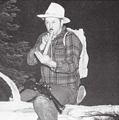 The author using an elk bugle