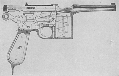 Mauser C96 automatic pistol phantom right