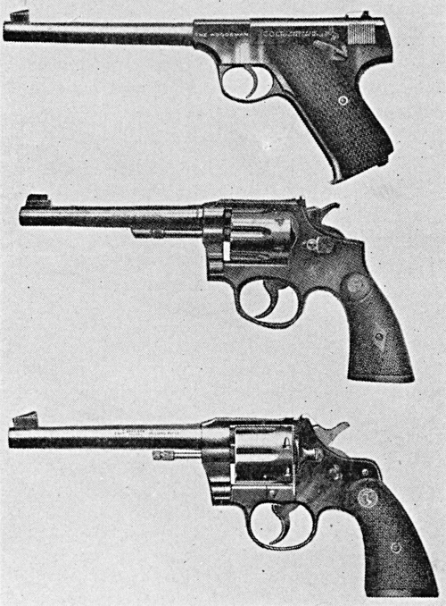 Colt Woodsman, Smith & Wesson Model K, and Colt Officers