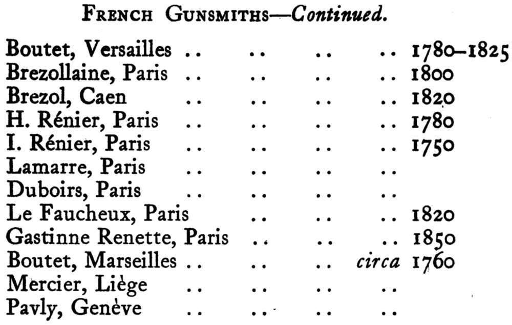 French Gunsmiths Continued